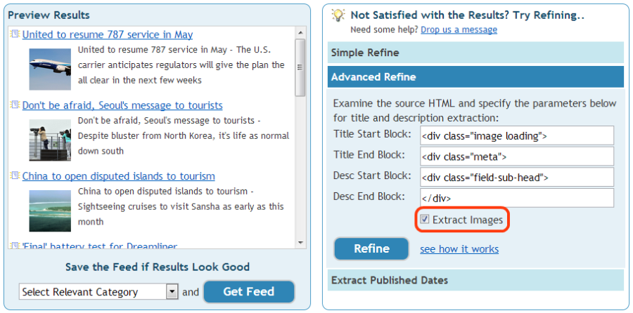 Extract images in RSS feeds with Feedity